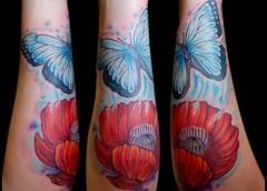 tatoo flower and butterfly