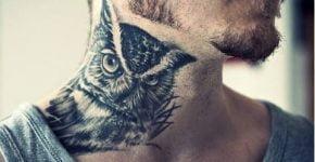 tatuaje cuello buho