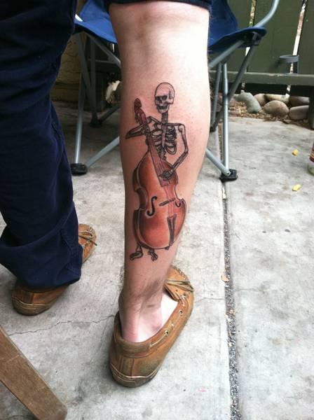 music skull tattoo