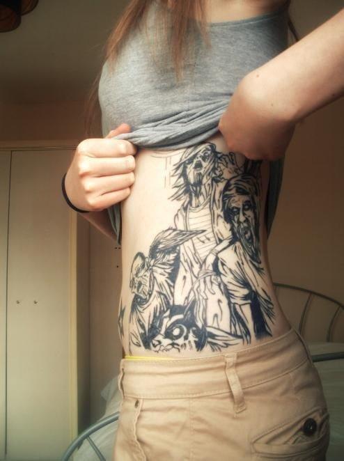 zombie tattoos abdomen