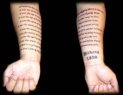 Tatuaje texto Dickens