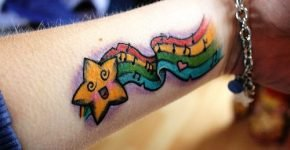 Rainbow music and star tattoo