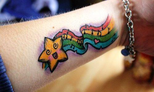 Rainbow music and star tattoo
