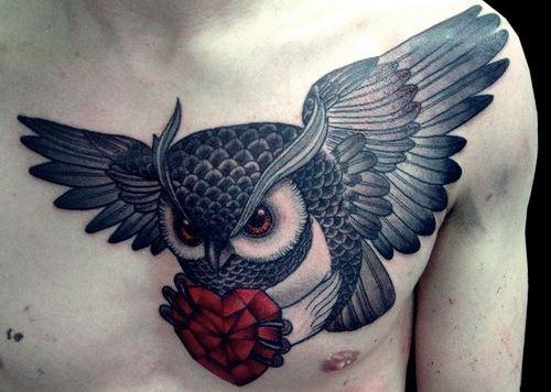 Owl tattoo heart