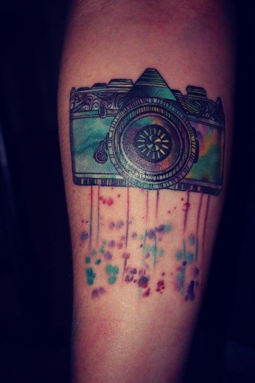 analog camera tattoo