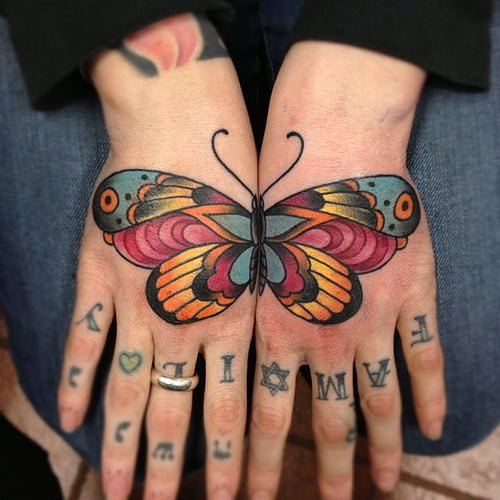 Butterfly tattoos on hands