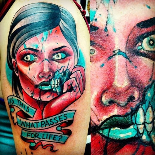 Tattoo Woman Zombie: Zombie Girl Tattoo- Is This What Passes For Life?