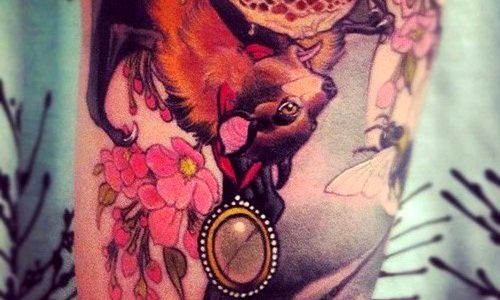 Eckel tattoo of a bat