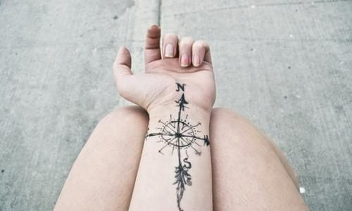 Compass tattoo on the wrist
