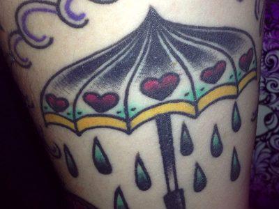 Umbrella tattoo with hearts