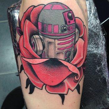 Pink R2D2 tattoo