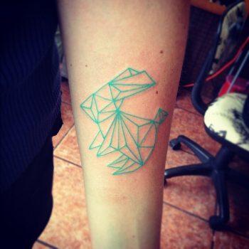 Geometric bunny tattoo