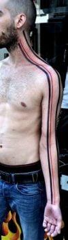 Line across body tattoo