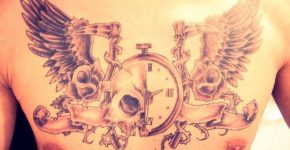 Clock tattoo on the chest