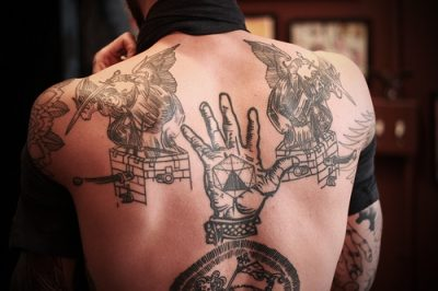 Angel tattoos on the back