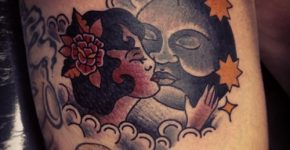 Kissing the moon tattoo