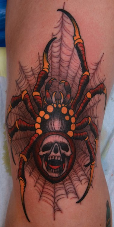 Spider skull tattoo