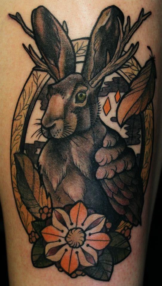 surrealist bunny tattoo