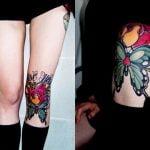 Tatuaje de mariposa en la rodilla