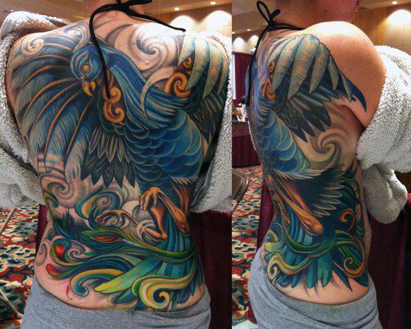 peacock full back tattoo