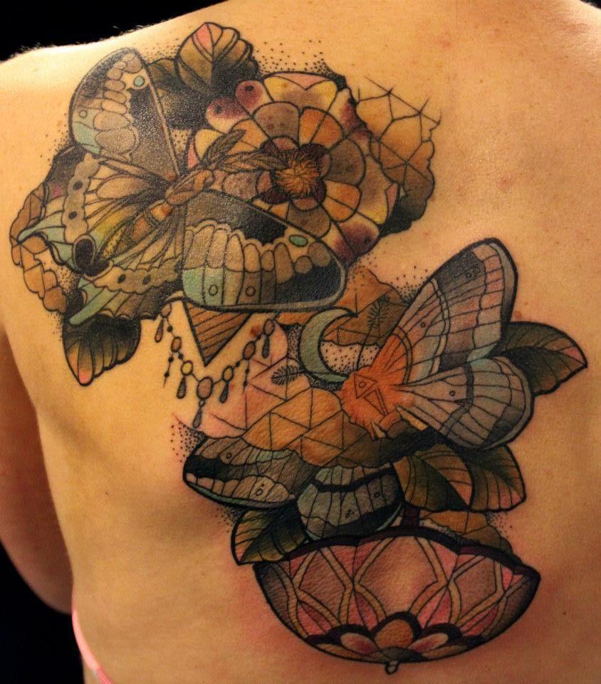 moths tattoo on back