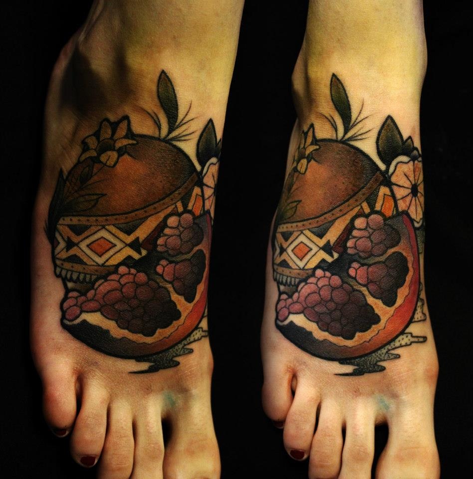 pomegranate tattoo on feet