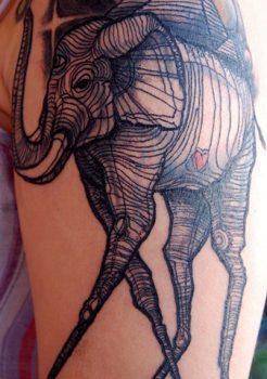 Dali's elephant tattoo