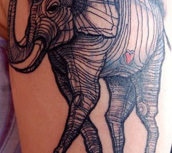 Dali's elephant tattoo