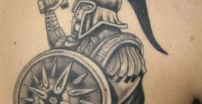 Gladiator tattoo on the back