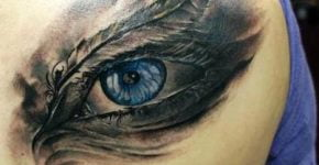Blue eye tattoo by Domantas Parvanis