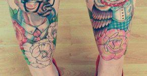 owl and deer tattoo