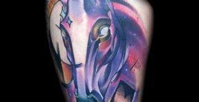 Purple Horse tattoo by Mark Halbstark