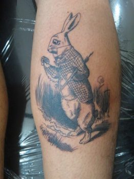 White rabbit Alice in Wonderland tattoo