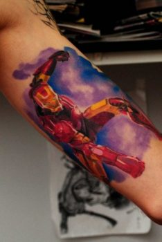 Ironman tattoo on arm