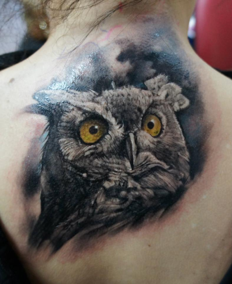 Owl tattoo by Domantas  Owl Eyes Tattoo