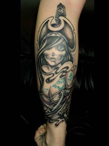 Pirate Skull girl tattoo
