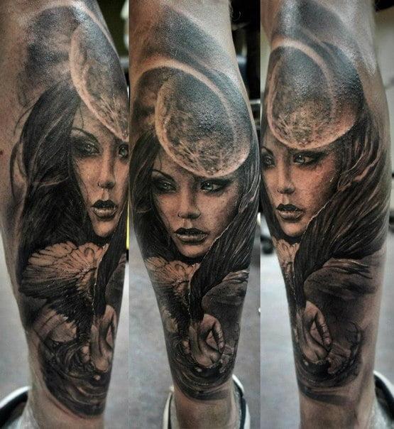 Women and moon tattoo