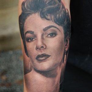 Elizabeth Taylor portrait tattoo
