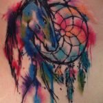 Watercolor tattoo of a horse