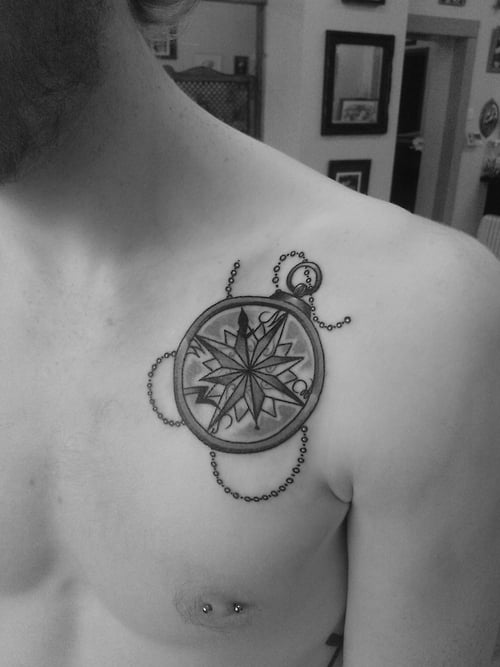 Compass tattoo on collar bone