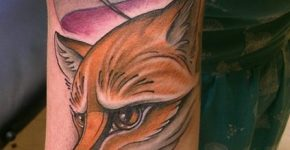 Fox tattoo on arm