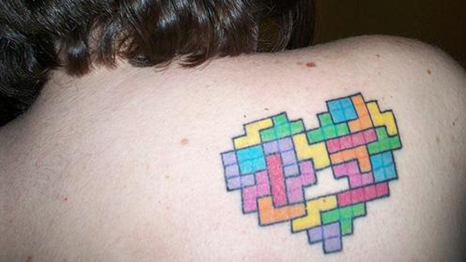Tetris tattoo on the back