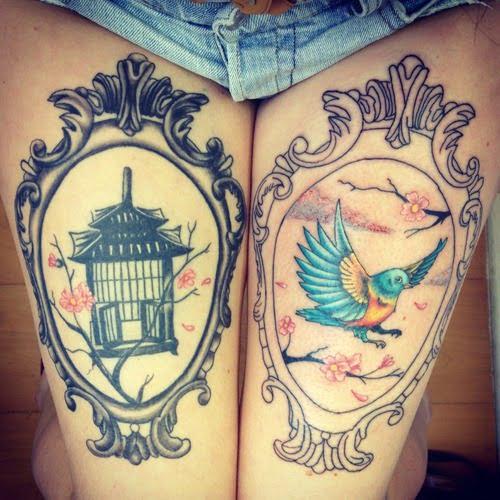 Tatuaje ave libre en la pierna