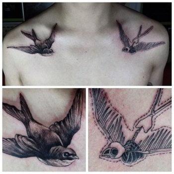 Tatuaje aves en los hombros