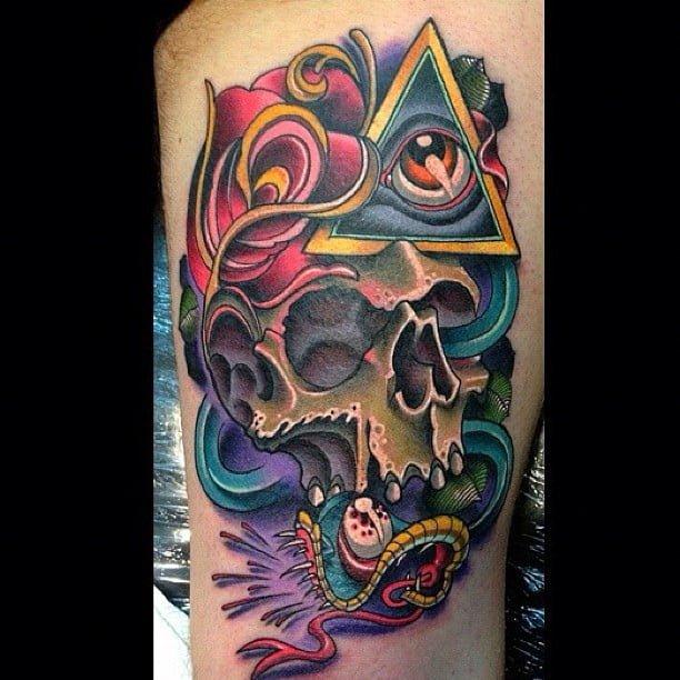 Tatuaje de calavera y ojo