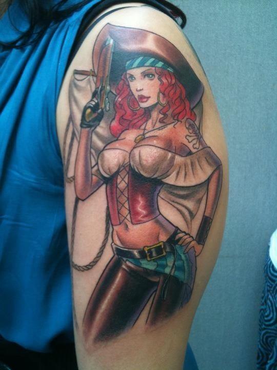 Tatuaje Pin up pirata