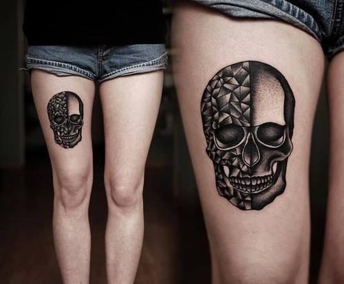 Tatuaje calavera muslo