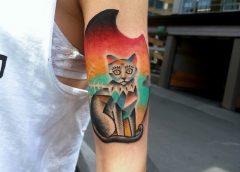 Tatuaje gato gris