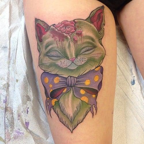 Tatuaje gato zombi