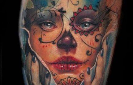 Tatuaje de cráneo de felino
